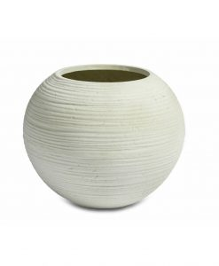 Bowl Curved Round White Washed