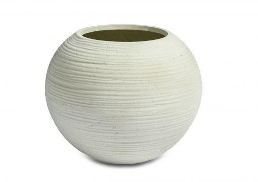 Curved Round Bowl White Washed